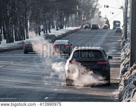Moscow. Russia. March 24, 2021. Rear View Of A Crossover Parked On A City Street On A Sunny Frosty S