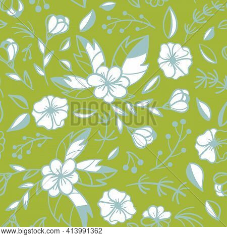 Floral Seamless Pattern. Sketchy Compositions With Spring Doodles Objects. Hand Drawn Illustrations.