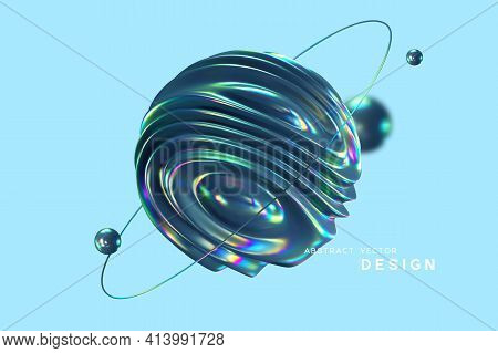 3d Wavy Fluorescent Sphere Arounded Ring And Balls. Abstract Shapes With Thin Film Effect. Liquid Mu