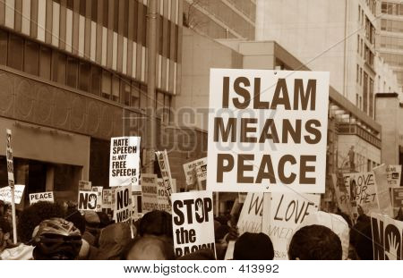 Muslim Protest And Protestors With Picket Signs 1
