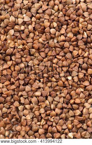 Fresh Buckwheat. Dry Buckwheat Background. Buckwheat Texture. Brown Buckwheat Is Scattered On The Su