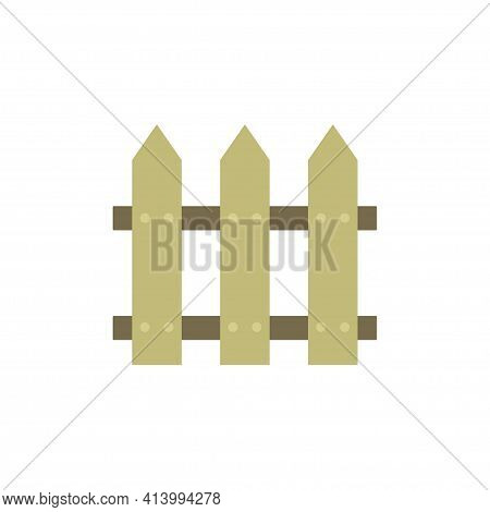 Cartoon Style Wooden Fence, Rustic Fence Made Of Boards Isolated On White Background, Vector Illustr