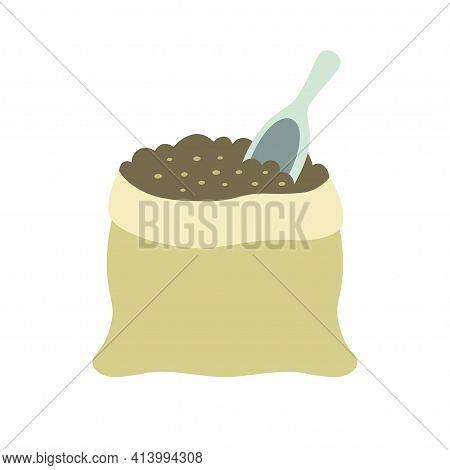Fertilizer Soil Sack Icon, Cartoon Vector Illustration Of Fertilizer Isolated On White Background, B