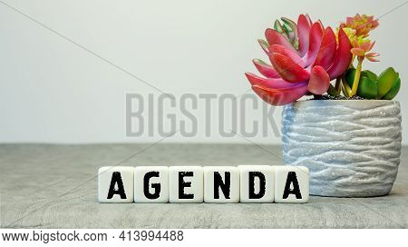 Soft Cubes With The Abbreviation Agenda With A Flower On A White Background