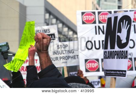 Muslim Protest And Protestors With Picket Signs 6