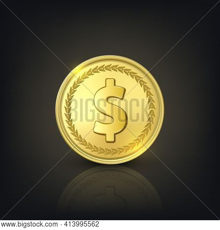 Vector 3d Realistic Golden Dollar Coin. Currency, Money, Wealth, Capital, Banking, E-commerce, Excha
