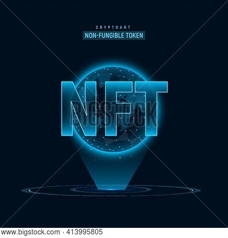 Nft Art Concept. Non Fungible Tokens. Crypto Art. Blockchain Tech Background. Technology Background