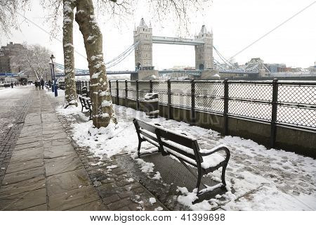 Tower Bridge On A Snowy Day