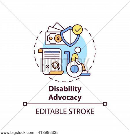 Disability Advocacy Concept Icon. Legal Services Types. Protect Human Rights Of People With Disabili