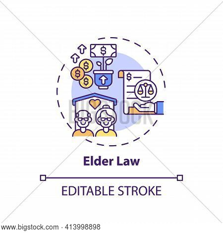 Elder Law Concept Icon. Legal Services Types. Practice That Specializes On Issues That Affect Aging