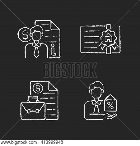 Broker Chalk White Icons Set On Black Background. Finance Advisor Consultation. Broker License. Busi