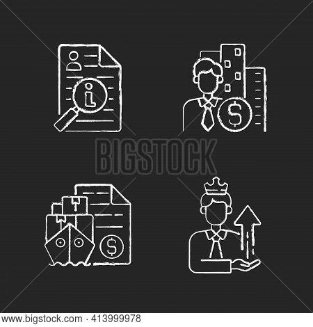 Brokerage Chalk White Icons Set On Black Background. Information Broker. Corporate Specialist On Fin