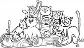 Black and White Cartoon Illustration of Happy Cats or Kittens Group for Coloring Book or Coloring Page poster