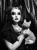 Dark vampire woman with cat poster