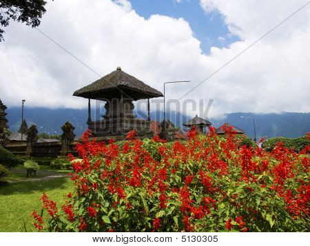 Ulun Danau Temple flower garden on lake Bratan Bali Indonesia poster