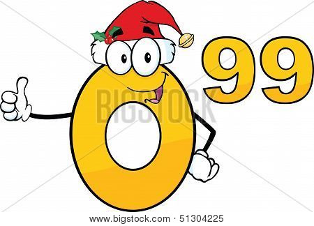 Price Tag Number 0 99 With Santa Hat Cartoon Mascot Character Giving A Thumb Up poster