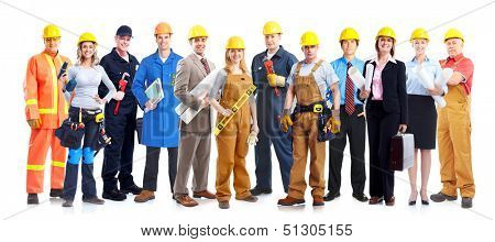 Construction workers group. Isolated over white background.