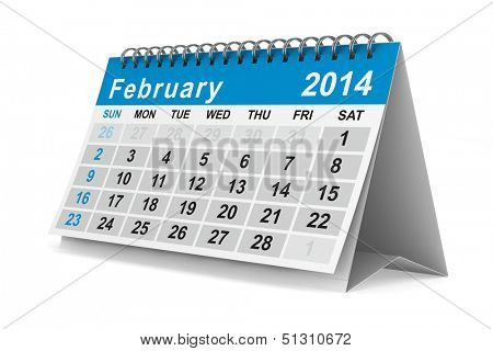2014 year calendar. February. Isolated 3D image