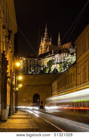 Night View On The Street Of Prague