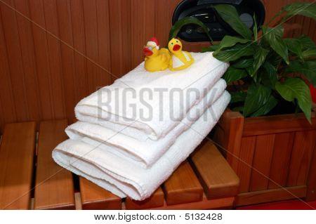 White Bath Towels In The Sauna