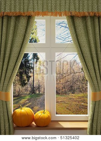 Window With Pumpkins