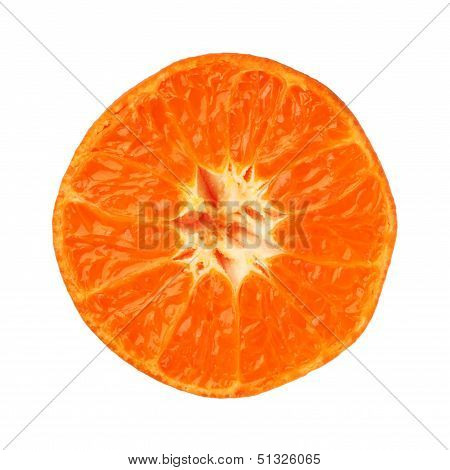 Clementine Tangerine Half Isolated On White Background