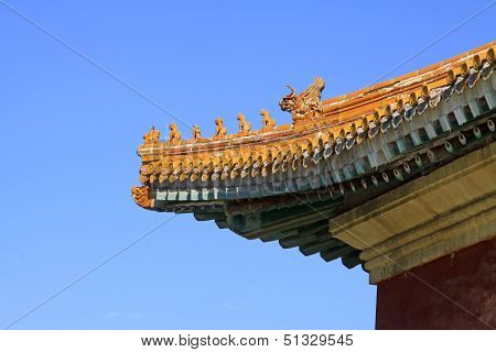 Glazed Tile Roof In The Eastern Royal Tombs Of The Qing Dynasty, China