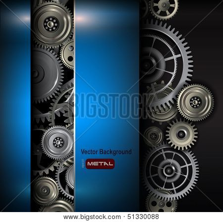 Background metallic gears and cogwheels, technology vector illustration.