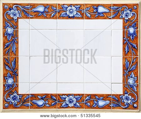 Traditional tiles with blank space inside, Porto, Portugal poster