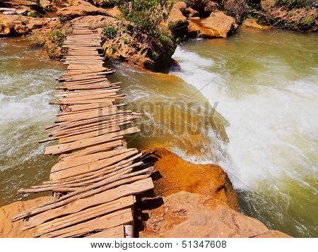 Wooden Bridge On Ouzoud River, Morocco
