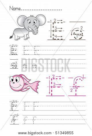 Alphabet handwriting E F