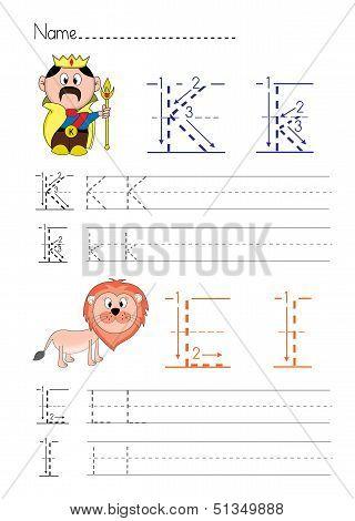 Alphabet handwriting K L
