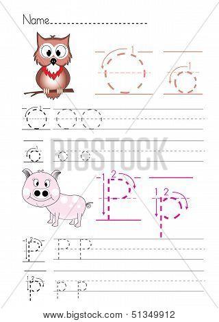 Alphabet handwriting O P