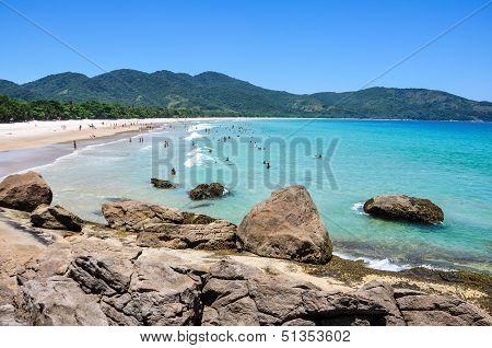 People Enjoying Lopes Mendes Beach, Rio, Brazil. South America.