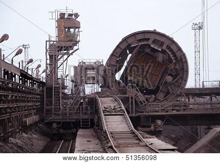 Rail-car Dumper At The Steel Mill
