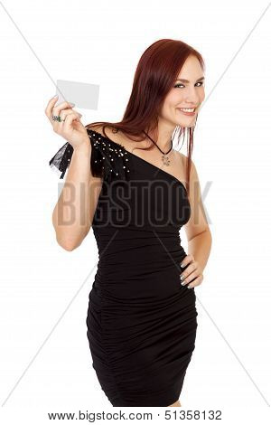 Attractive Woman With Red Hair Smiles While Holding A Blank Business Card Near Her Face.