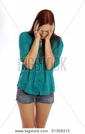 Pretty Young Woman Crying.