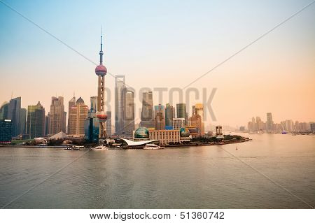 Shanghai Lujiazui Skyline At Dusk