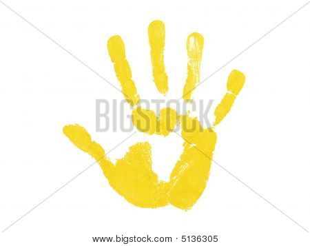 Yellow Hand Print Isolated Over White Background