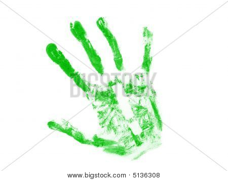 Green hand print with white exclamation mark inside isolated over white background poster