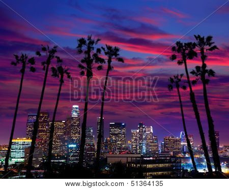 Downtown LA night Los Angeles sunset colorful skyline California