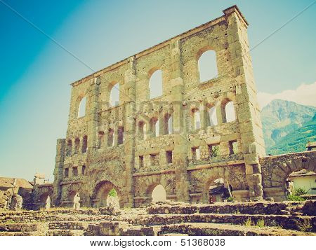 Vintage looking Ruins of the Roman Theatre in Aoste Italy poster