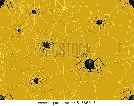Seamless Illustration Featuring a Group of Spiders Making a Network of Spiderwebs