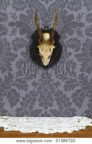 Antlers Over Vintage Taple Cloth