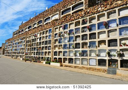 BARCELONA, SPAIN - SEPTEMBER 19: View of Montjuic Cemetery on September 19, 2013 in Barcelona, Spain. The cemetery contains over one million burials and cremation ashes in its 567,934 meters square