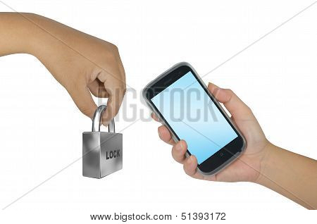 Hand Holding Smartphone With Lock