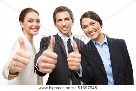 Three thumbing up business people, isolated on white. Concept of teamwork and cooperation