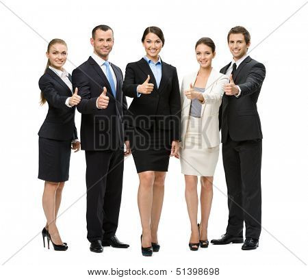Full-length portrait of thumbing up group of business people, isolated on white. Concept of teamwork and cooperation