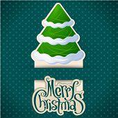 Retro style minimal christmas card. Vector. poster