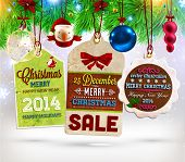 Collection of Vintage Retro Christmas Labels. Set of Xmas badges and holiday icons poster